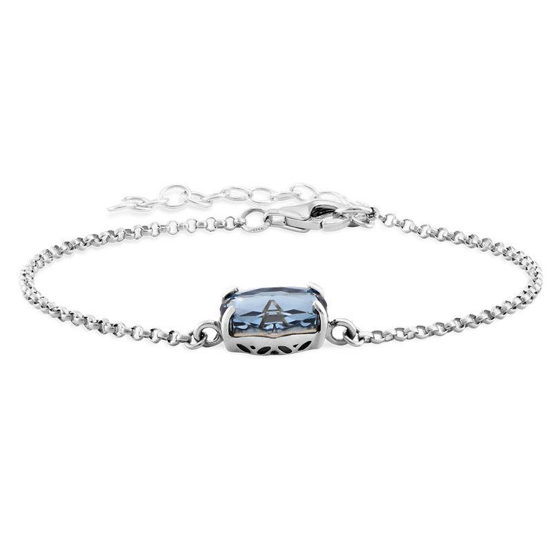Swarovski Stone Engraved Bracelet in Silver - 1