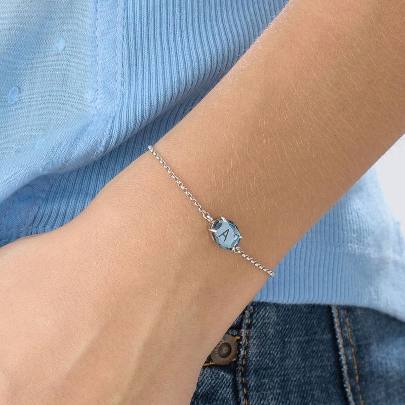 Swarovski Stone Engraved Bracelet in Silver - 4
