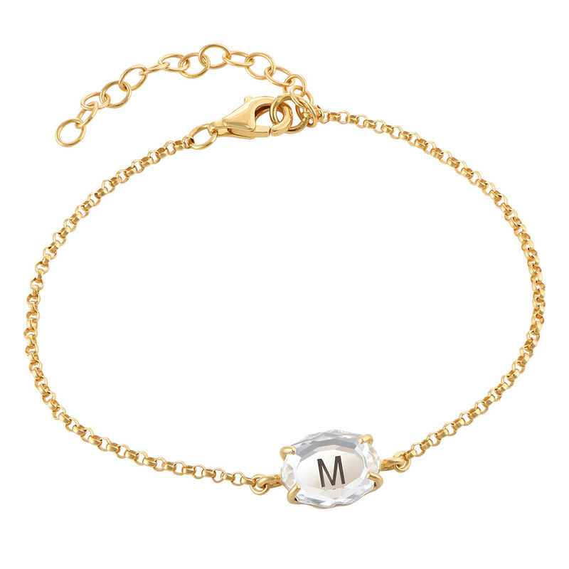 Swarovski Stone Engraved Bracelet in Gold Plating