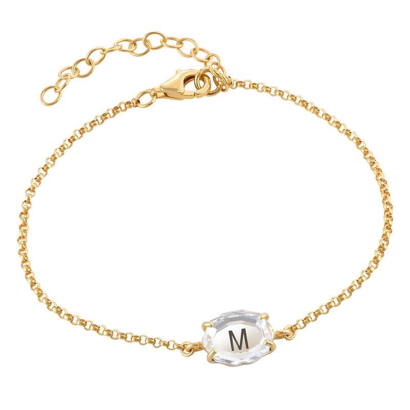 Swarovski Stone Engraved Bracelet in Gold Plating