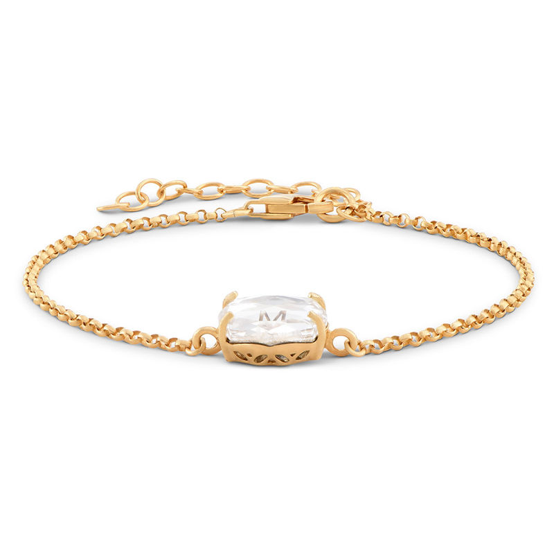 Swarovski Stone Engraved Bracelet in Gold Plating - 1