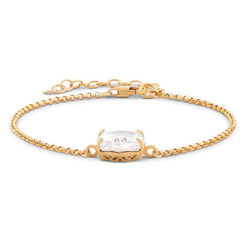 Swarovski Stone Engraved Bracelet in Gold Plating - 1