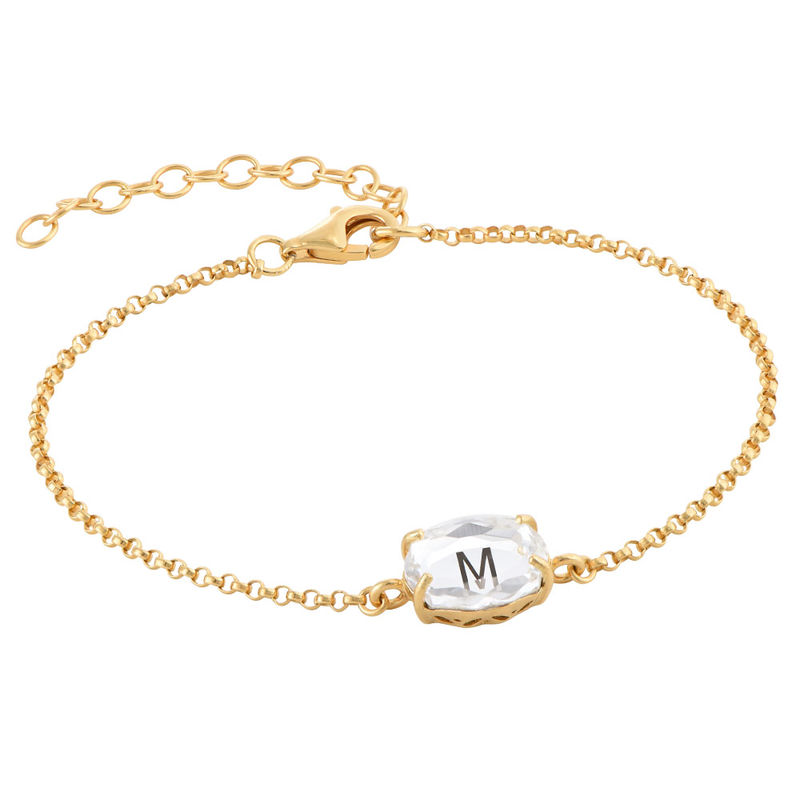 Swarovski Stone Engraved Bracelet in Gold Plating - 2