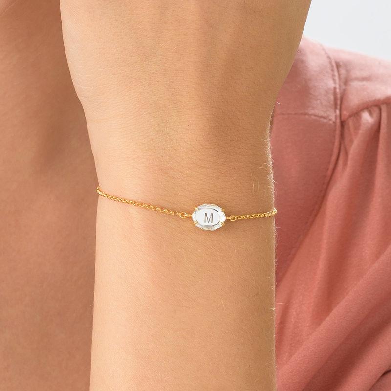 Swarovski Stone Engraved Bracelet in Gold Plating - 4