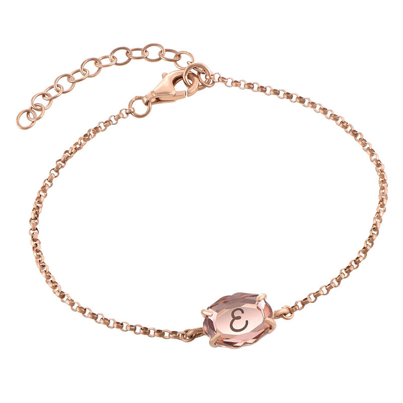 Swarovski Stone Engraved Bracelet in Rose Gold Plating