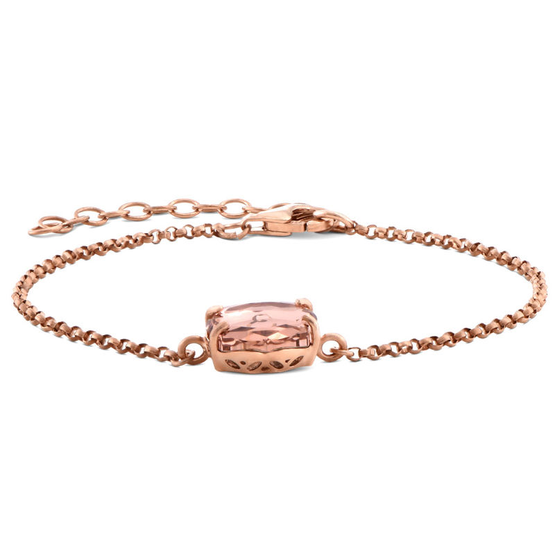 Swarovski Stone Engraved Bracelet in Rose Gold Plating - 1