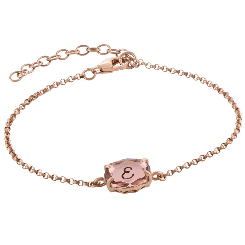 Swarovski Stone Engraved Bracelet in Rose Gold Plating - 2