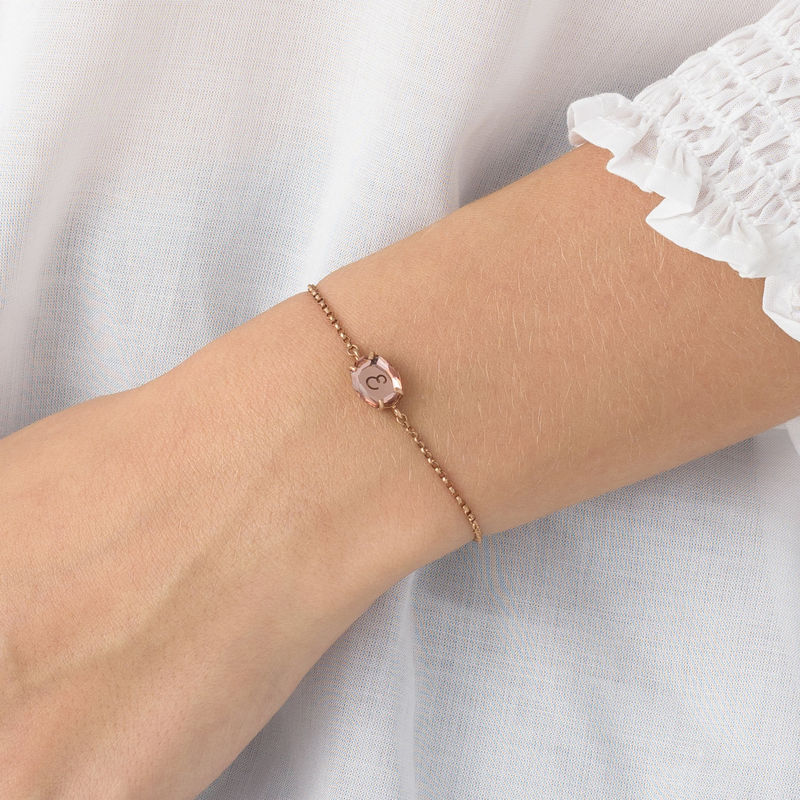 Swarovski Stone Engraved Bracelet in Rose Gold Plating - 4