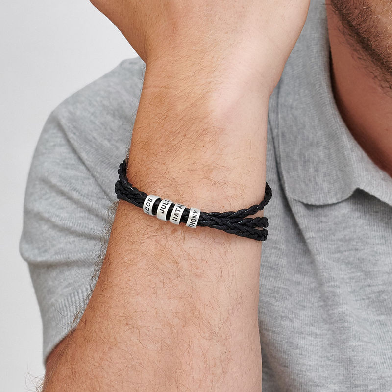 Men Bracelet with Small Custom Beads in Silver - 1 - 2 - 3