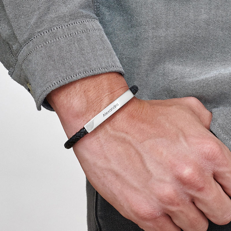 Engraved Leather Bar Bracelet for Men- in Black - 2