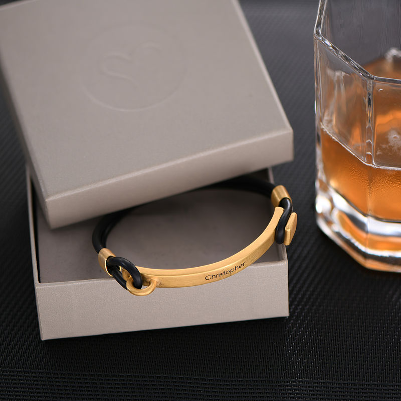 Personalised Rubber Bracelet with Engravable Bar in Gold Plated - 2