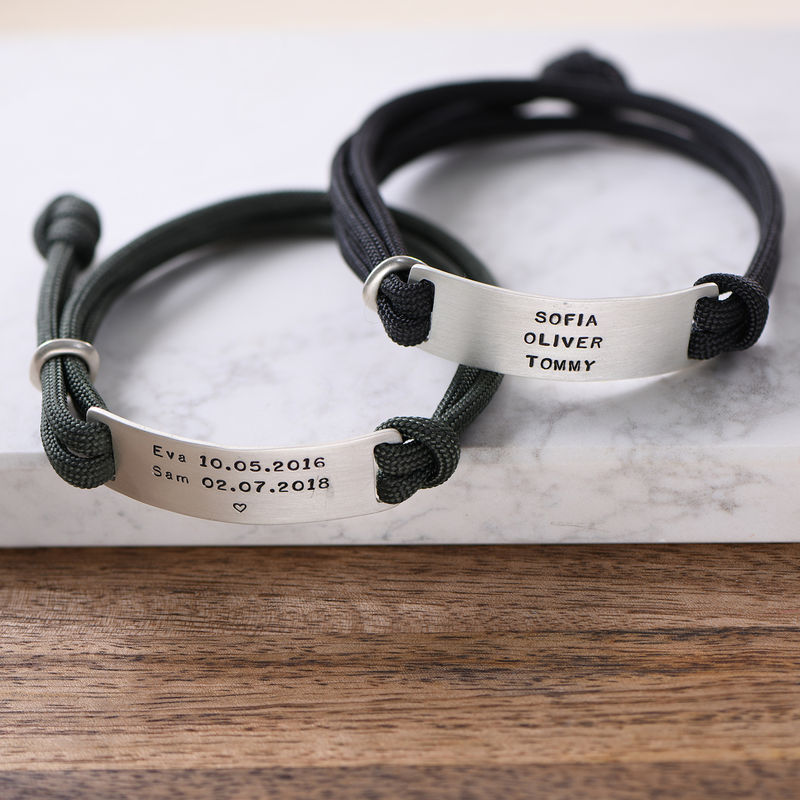 Engraved Bar Cord Bracelet For Men - 3