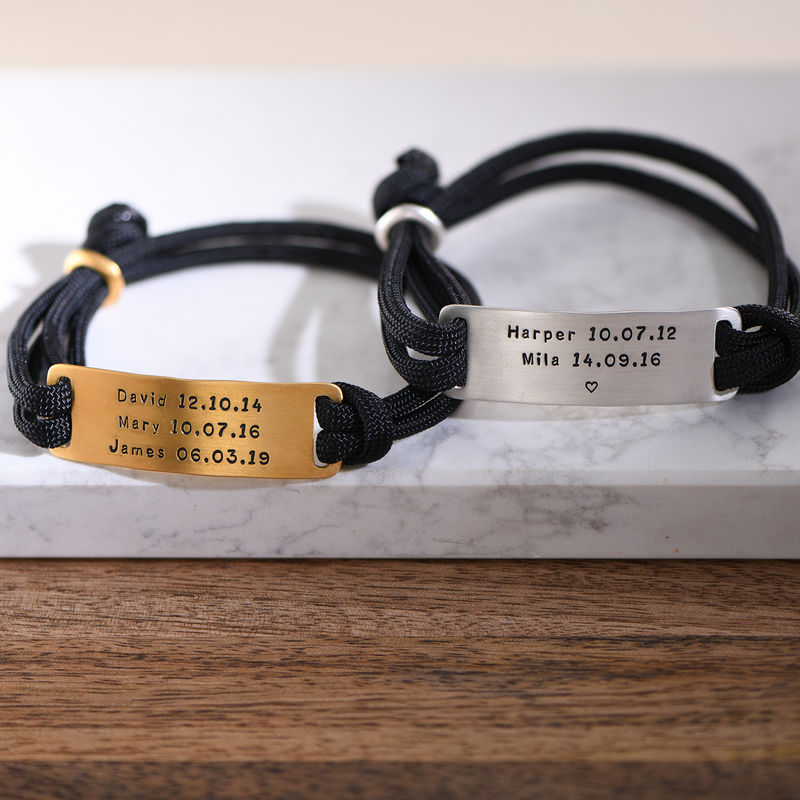 Engraved Bar Cord Bracelet For Men - 4