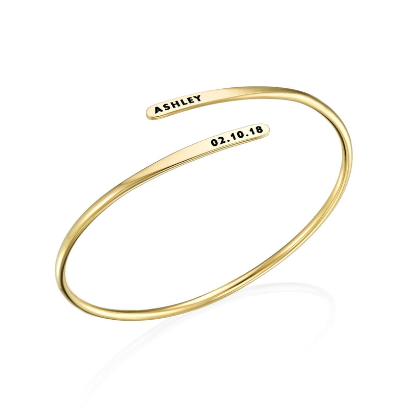 Engraved Adjustable Gold Plated Cuff Bracelet - 1