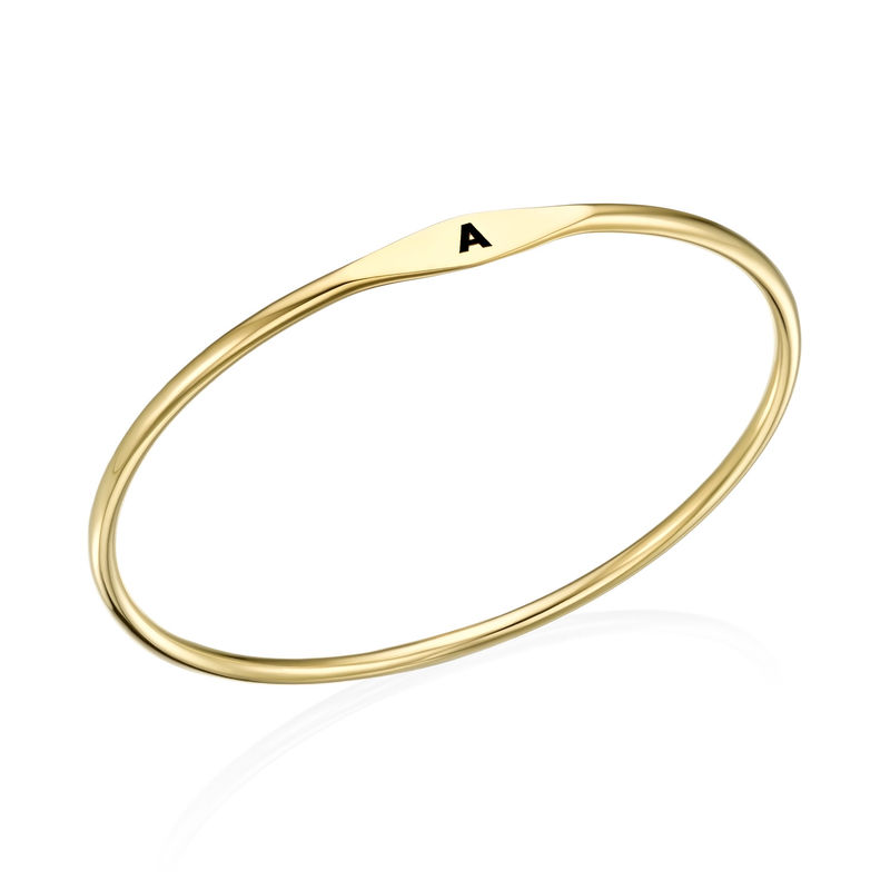 Initial Bangle Bracelet in Gold Plating - 1