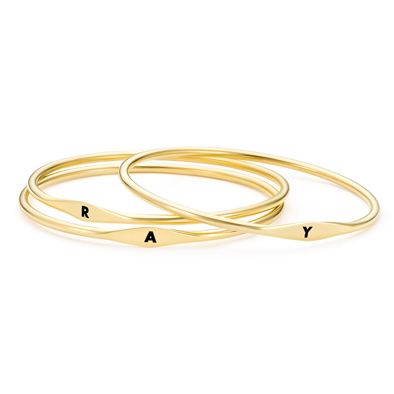 Initial Bangle Bracelet in Gold Plating - 2