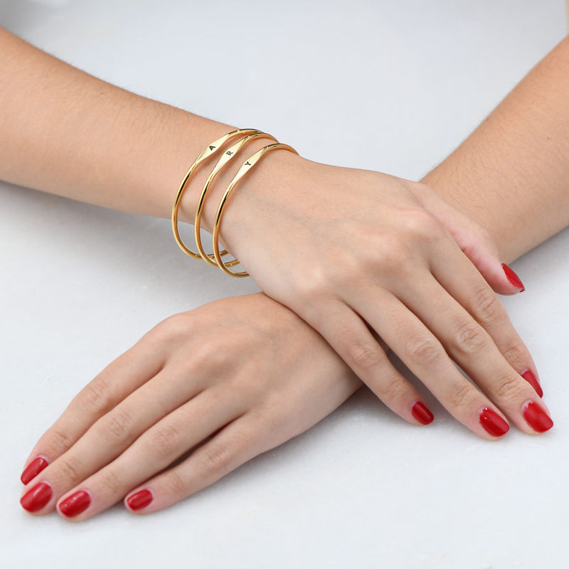 Initial Bangle Bracelet in Gold Plating - 3