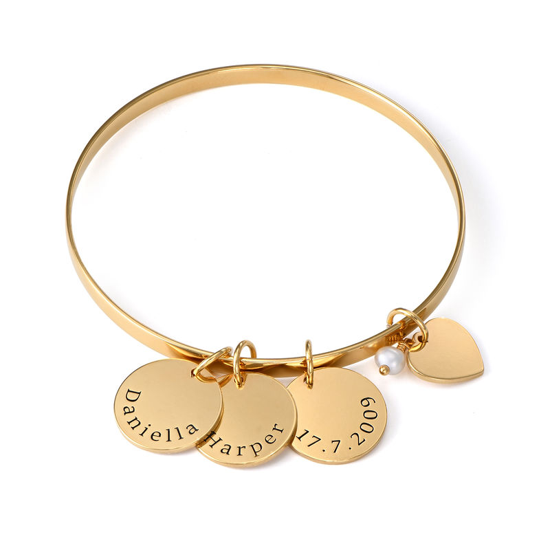 Bangle Bracelet with Personalised Pendants in Gold Plating