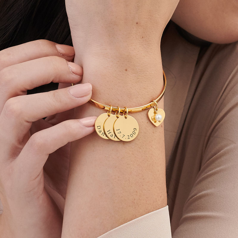 Bangle Bracelet with Personalised Pendants in Gold Plating - 2