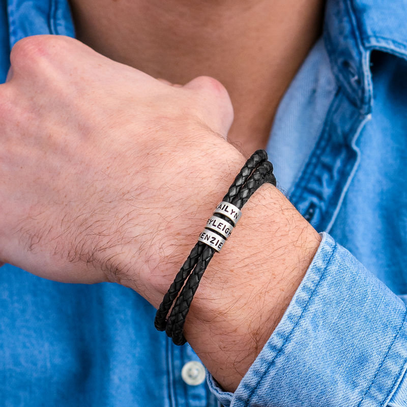 Men's Braided Leather Bracelet with Small Custom Beads in Silver - 5