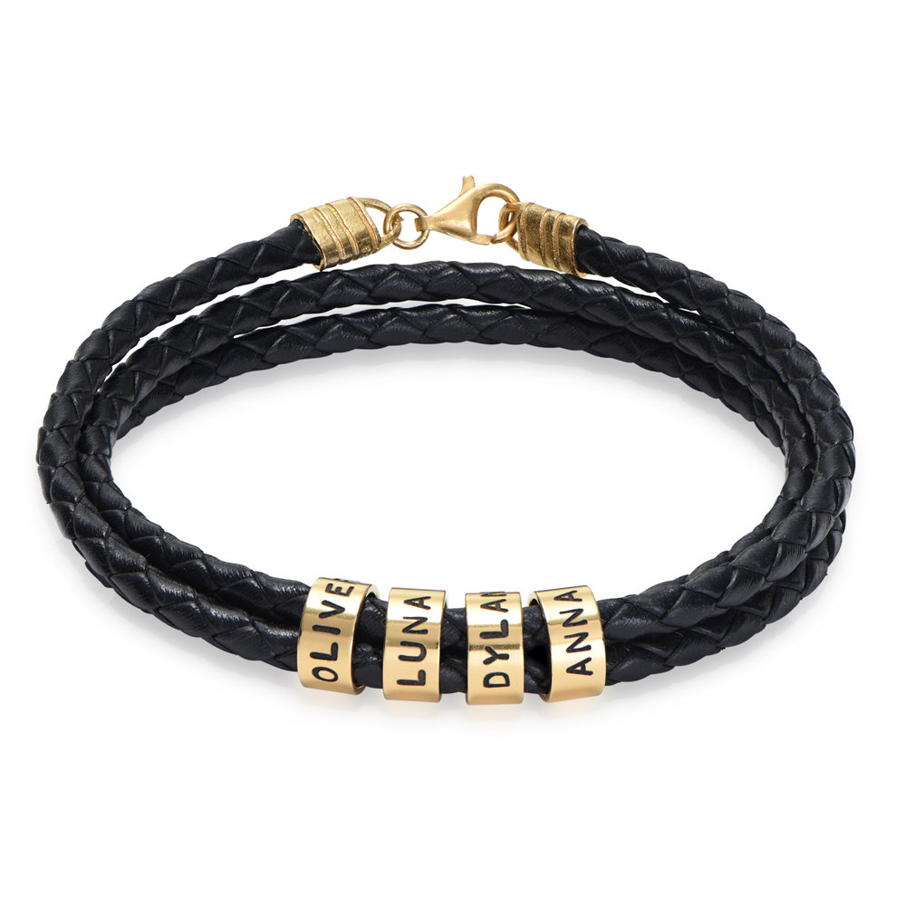 Men Braided Leather Bracelet with Small Custom Beads in 18ct Gold Vermeil