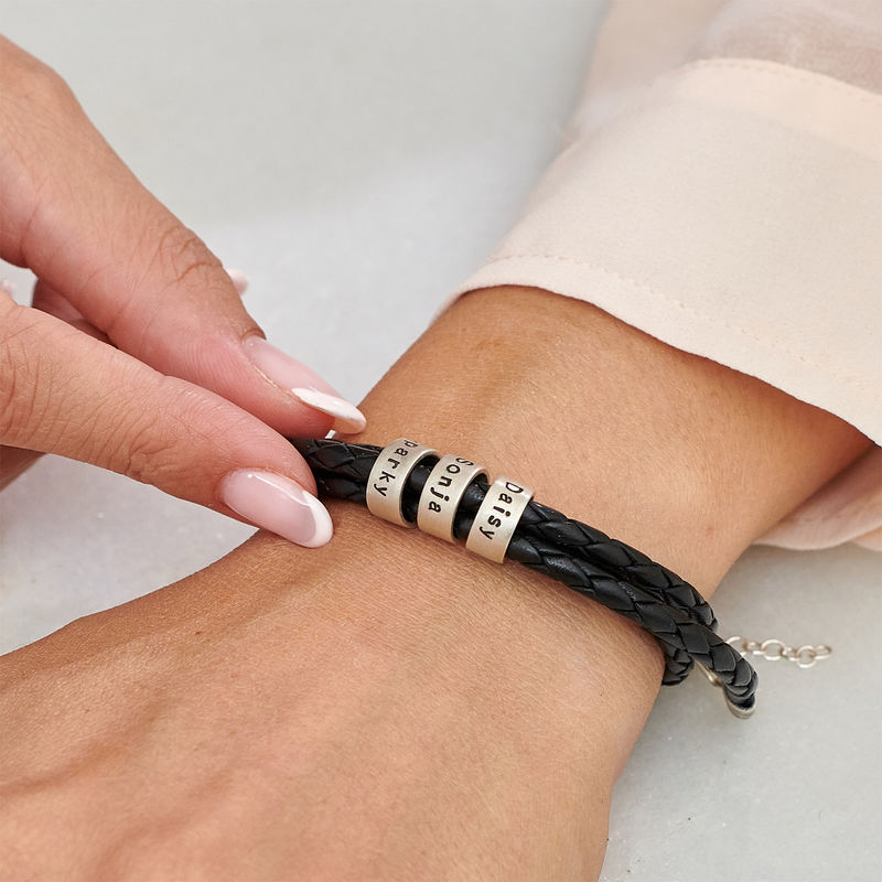 Women Braided Leather Bracelet with Small Custom Beads in Silver - 2