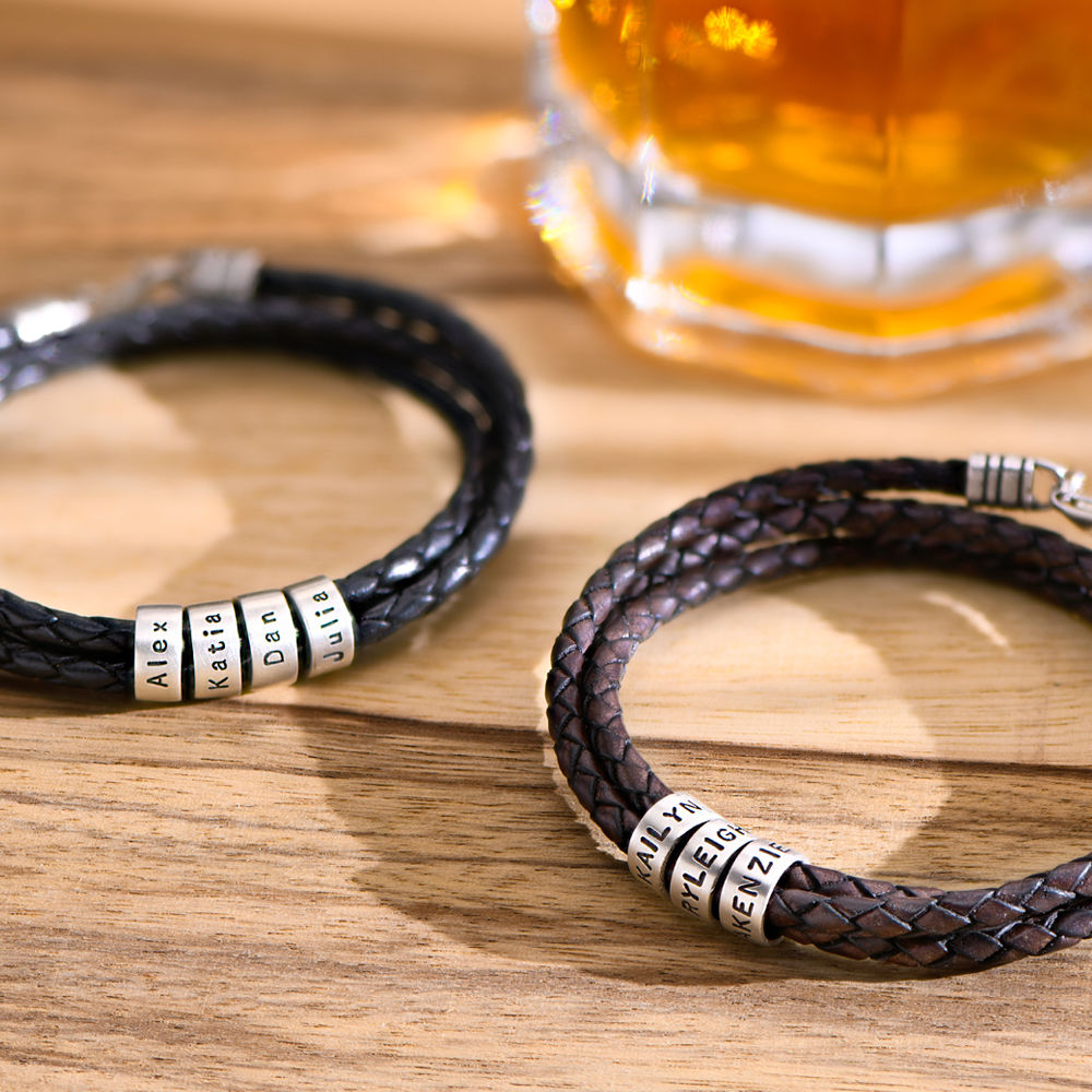 Men Braided Brown Leather Bracelet with Small Custom Beads in Silver - 4