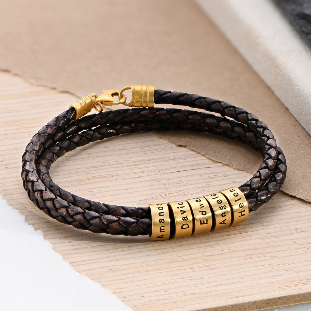 Men Braided Brown Leather Bracelet with Small Custom Beads in 18ct Gold Vermeil - 2