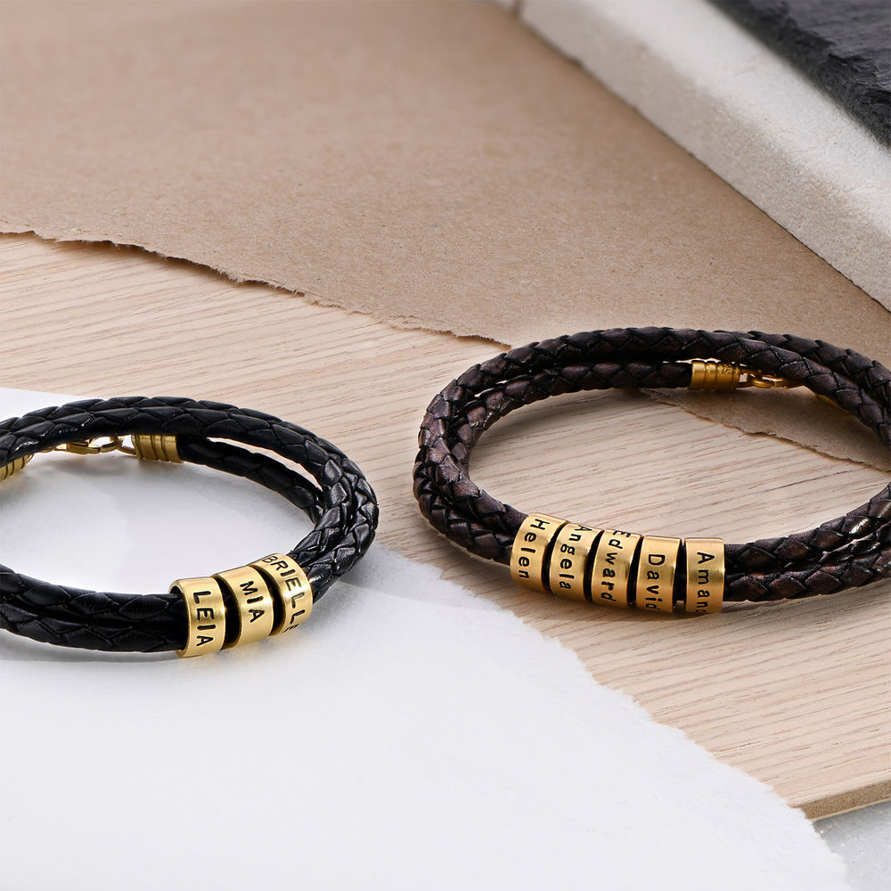 Men Braided Brown Leather Bracelet with Small Custom Beads in 18ct Gold Vermeil - 3