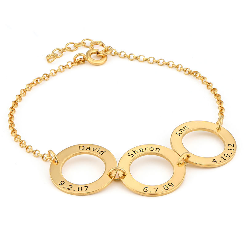 Personalised 3 Circles Bracelet with Engraving in Gold Plating