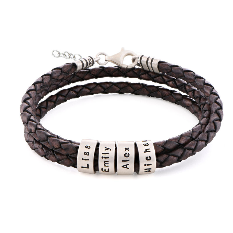 Women Braided Brown Leather Bracelet with Small Custom Beads in Silver