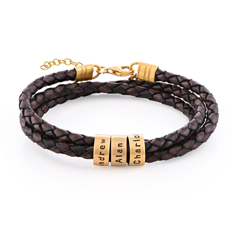 Women Braided Brown Leather Bracelet with Small Custom Beads in 18ct Gold Plating