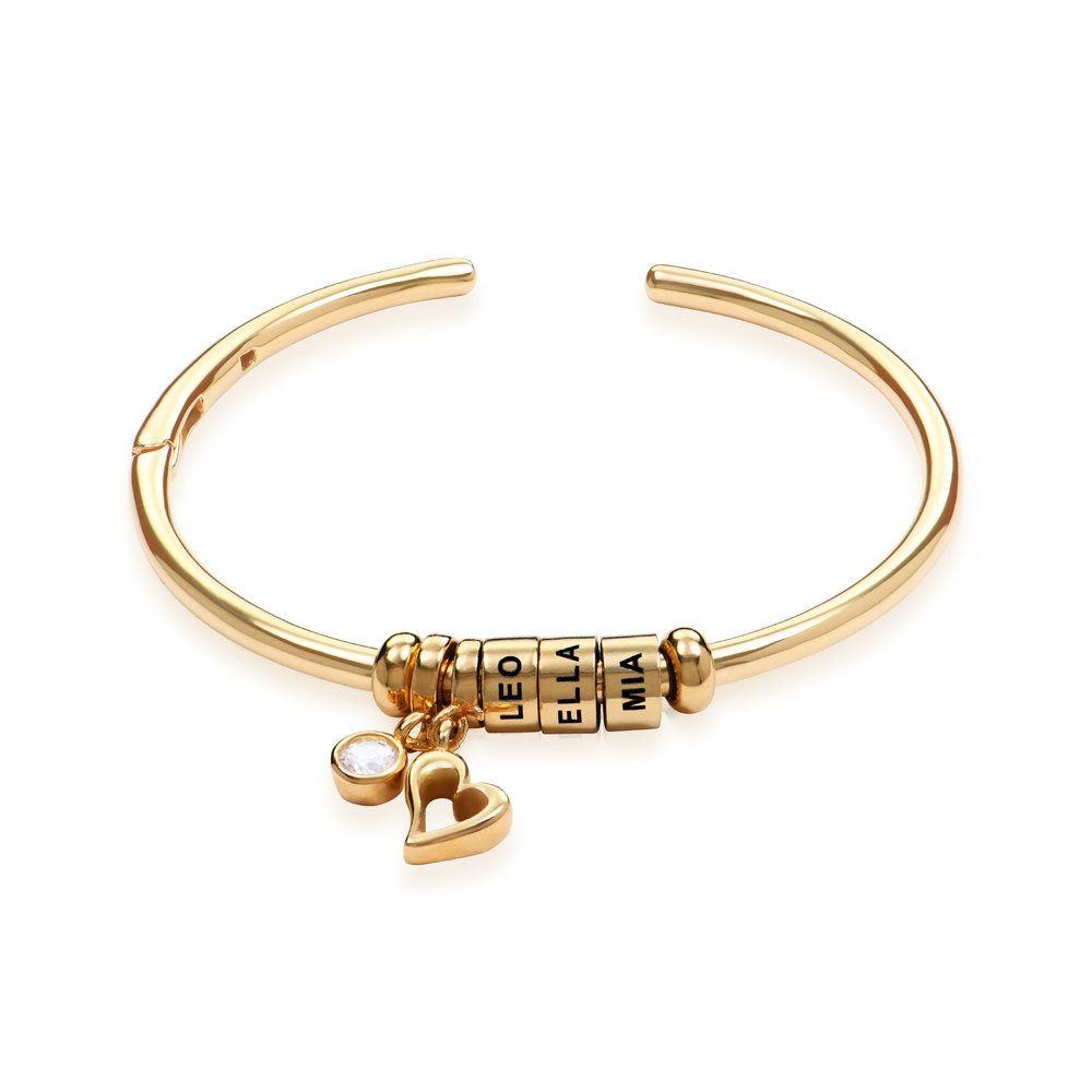 Linda Open Bangle Bracelet with Beads in Gold Plating
