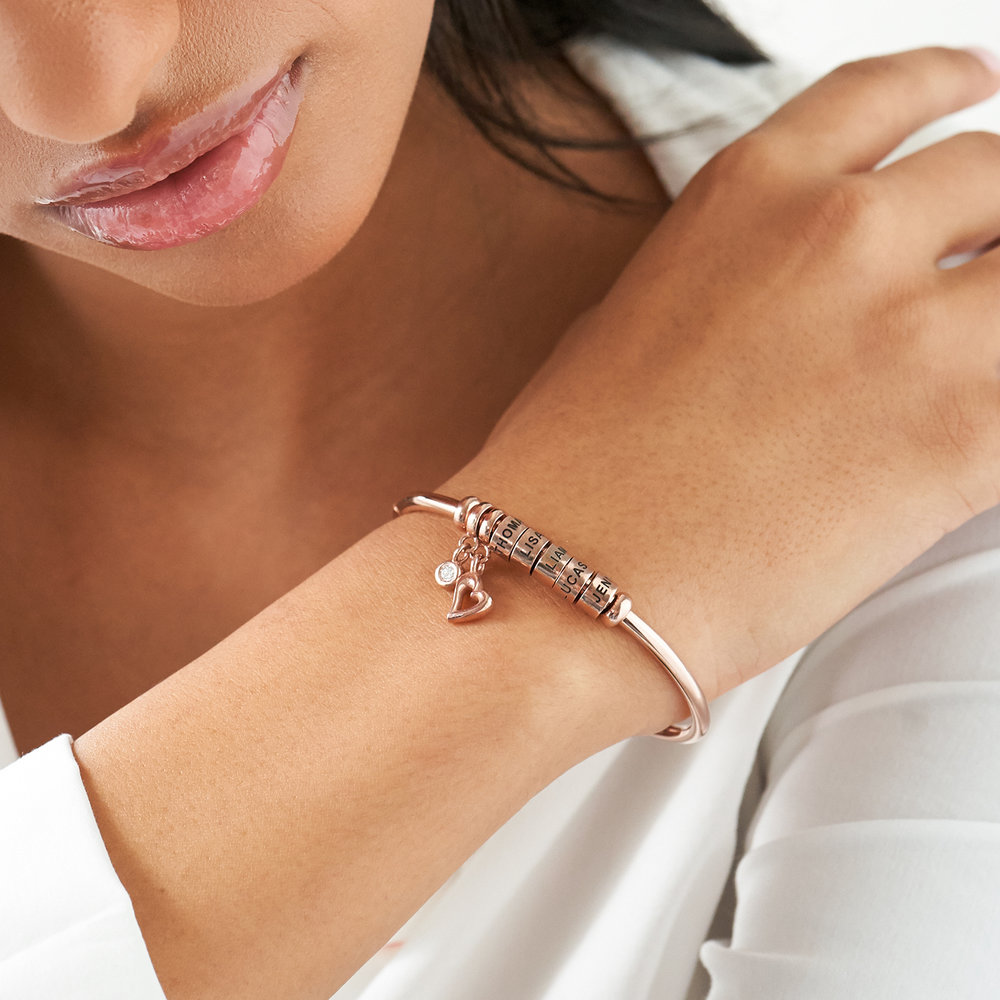 Linda Open Bangle Bracelet with Beads in Rose Gold Plating - 3
