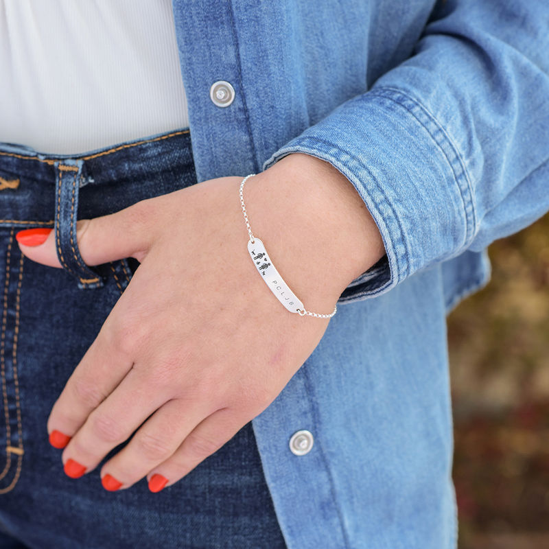 Family Bar Bracelet in Sterling Silver - 2