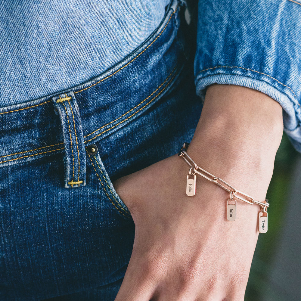 Rory Chain Link Bracelet with Custom Charms in 18ct Rose Gold Plating - 2