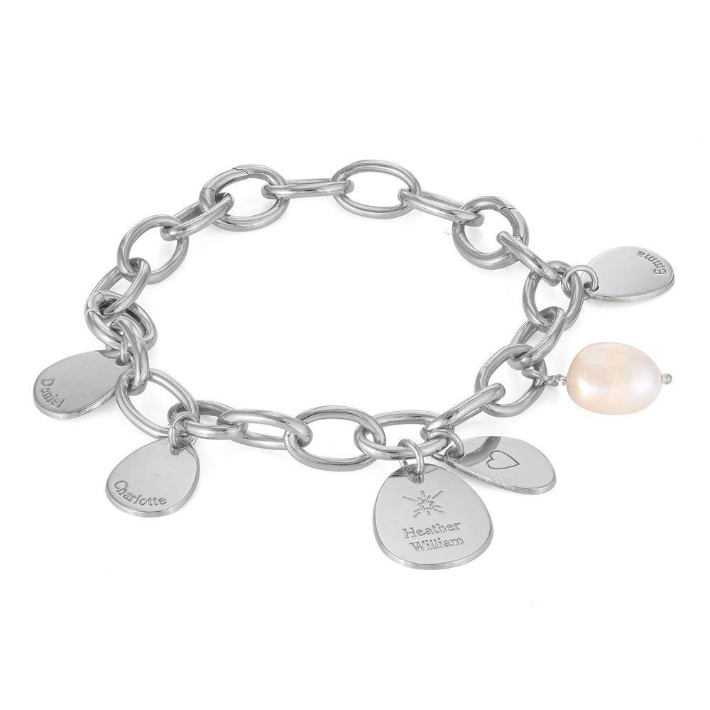 Personalised Round Chain Link Bracelet with Engraved Charms in Sterling Silver