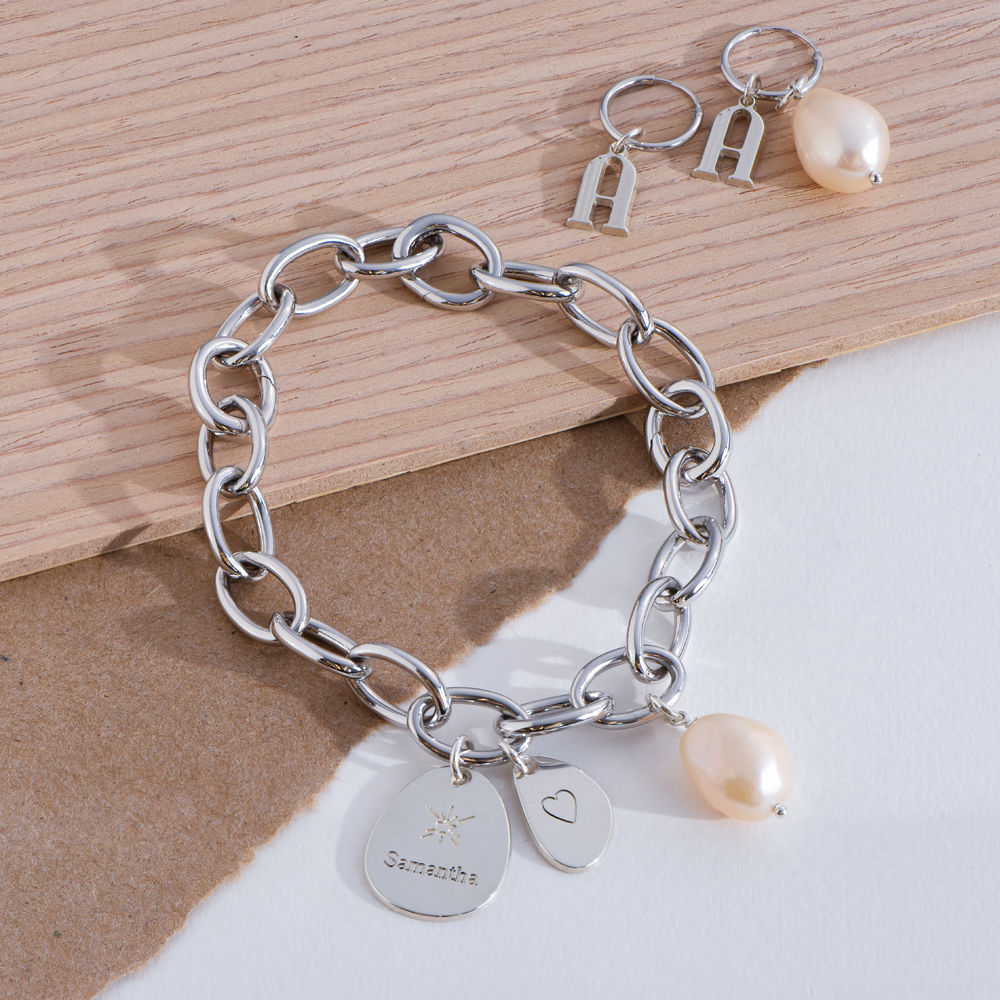 Personalised Round Chain Link Bracelet with Engraved Charms in Sterling Silver - 3