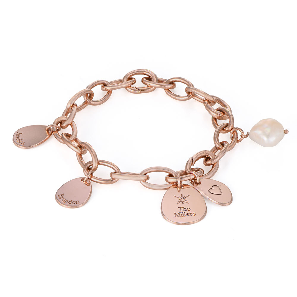 Personalised Round Chain Link Bracelet with Engraved Charms in 18ct Rose Gold Plating