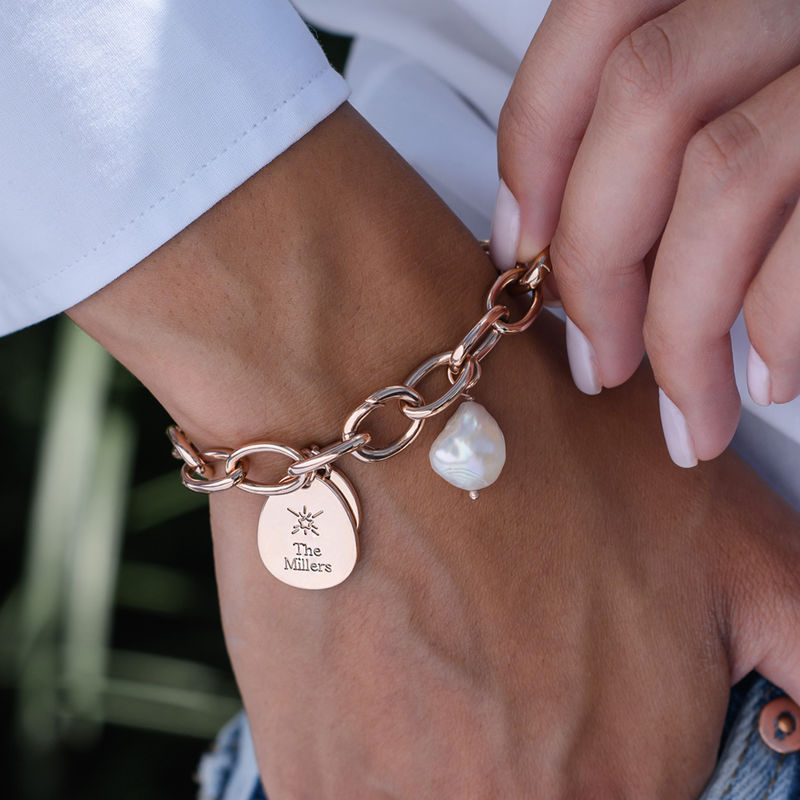 Personalised Round Chain Link Bracelet with Engraved Charms in 18ct Rose Gold Plating - 2