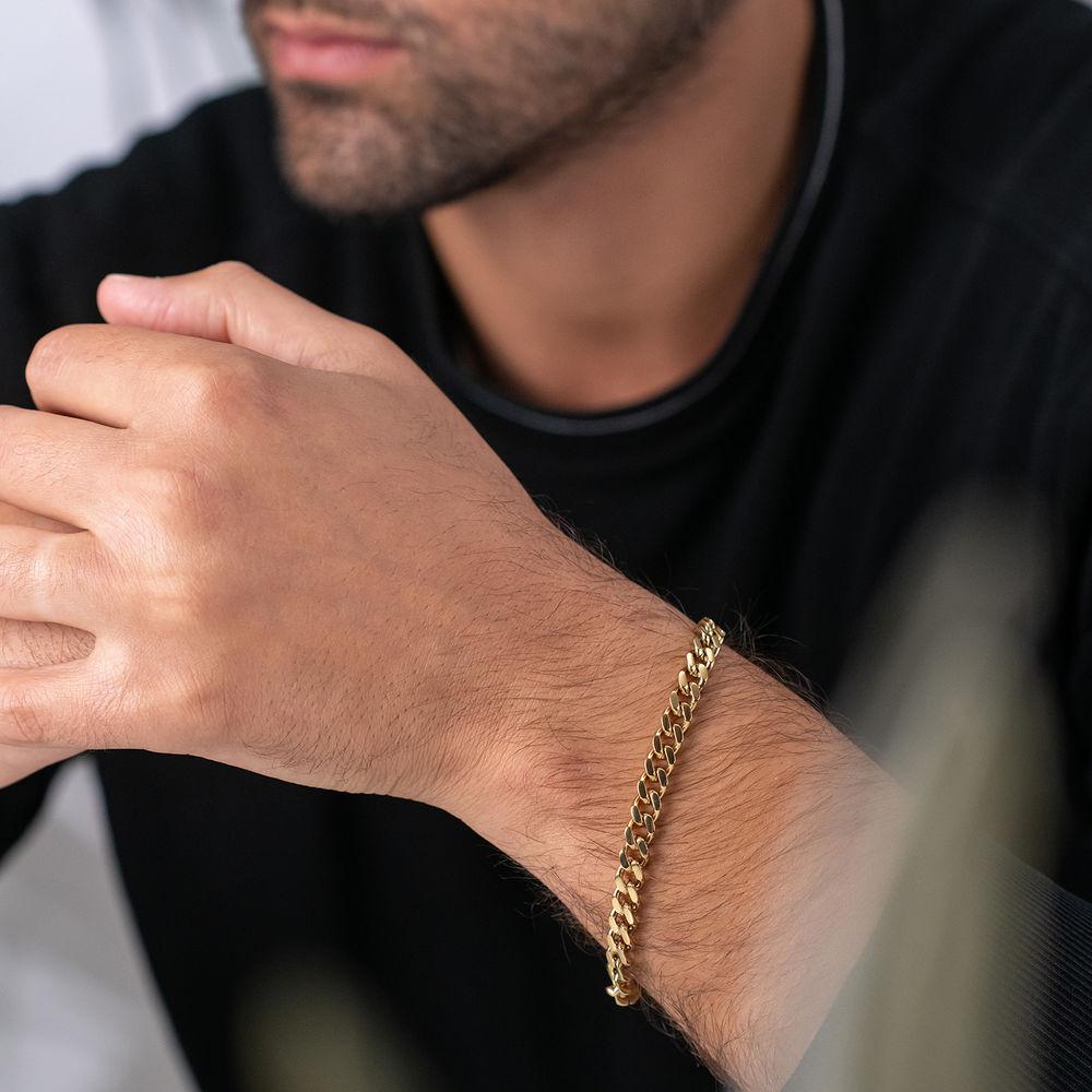 Men's Cuban Link Bracelet in 18ct Gold Plating - 1