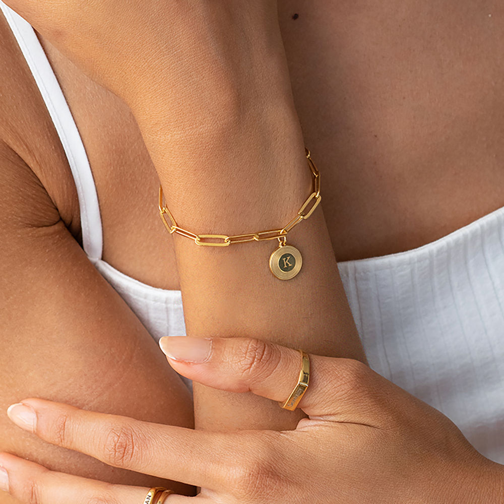 Odeion Initial Link Chain Bracelet / Anklet in 18ct Gold Plating - 1