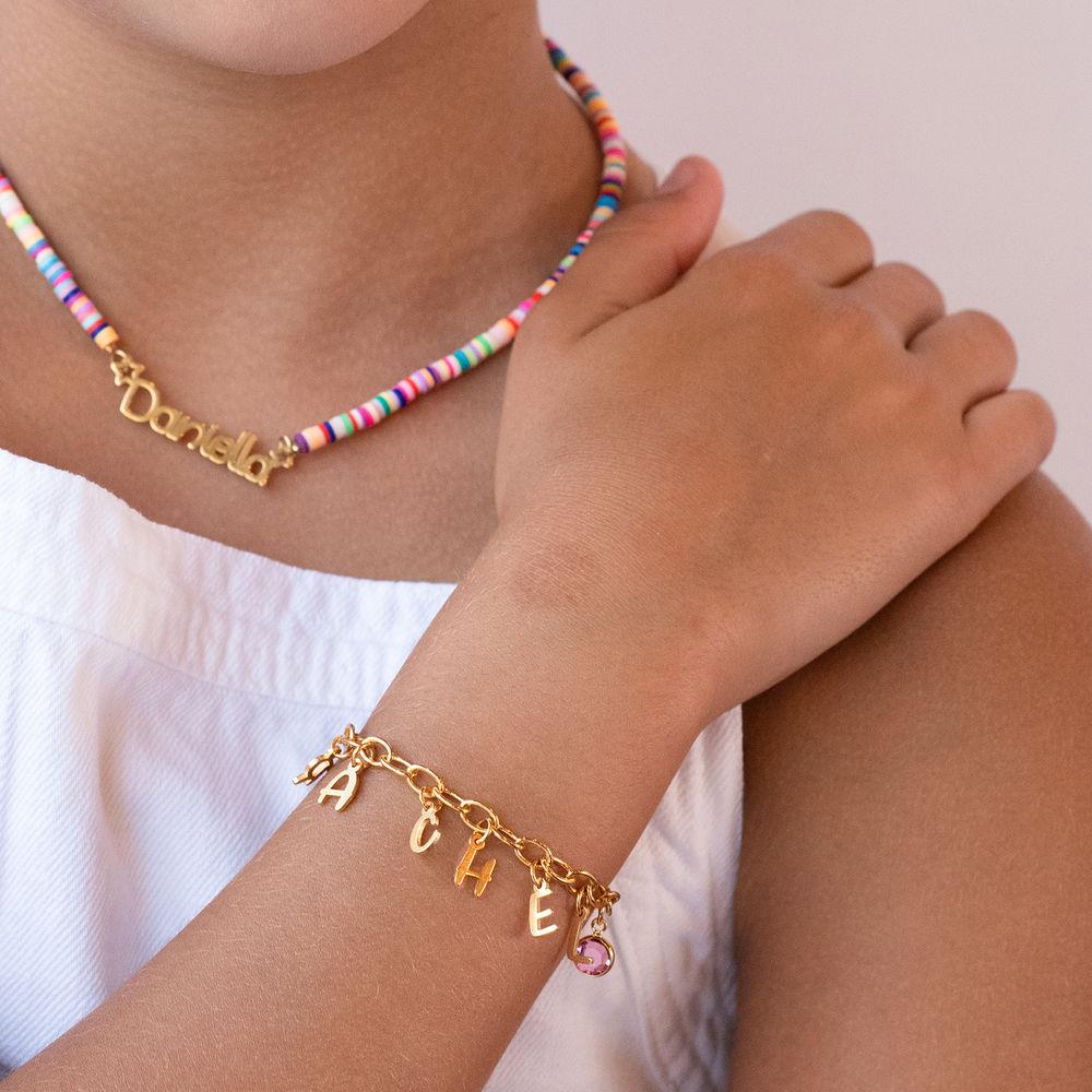 Letter Charm Bracelet for Girls in Gold Plating - 1
