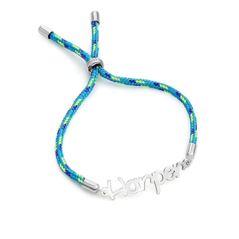 Name Cord Bracelet for Kids in Sterling Silver - 1