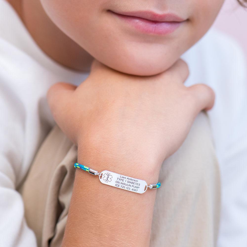 Medical ID Bracelet for Kids in Sterling Silver - 3