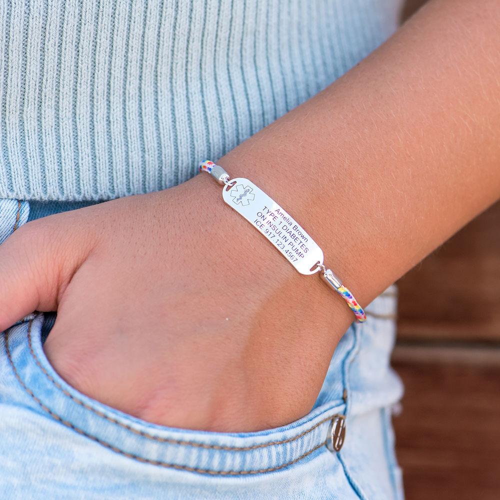 Medical ID Bracelet for Kids in Sterling Silver - 4
