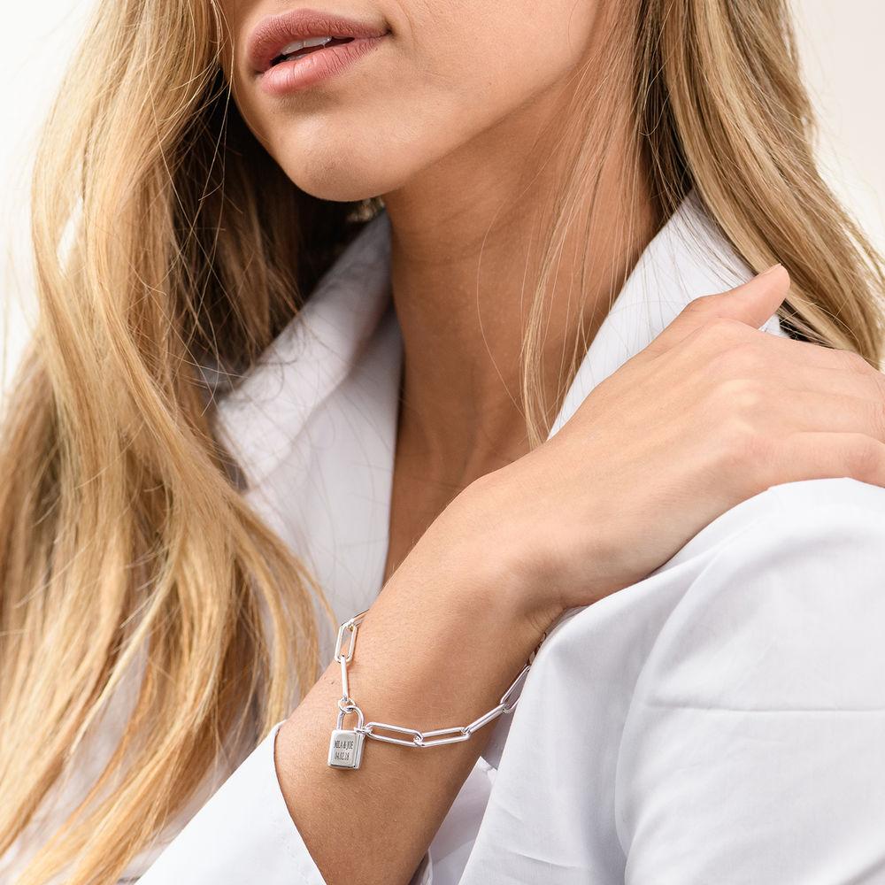 Allie Padlock Link Bracelet in Sterling Silver - 2