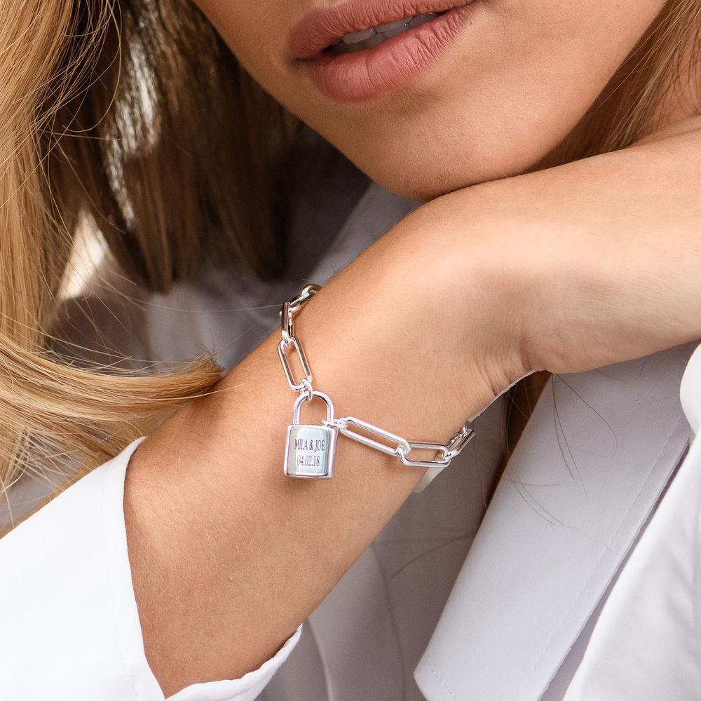 Allie Padlock Link Bracelet in Sterling Silver - 3