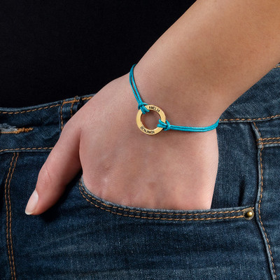 Gold Plated Circle Bracelet with Leather Style Cord - 2
