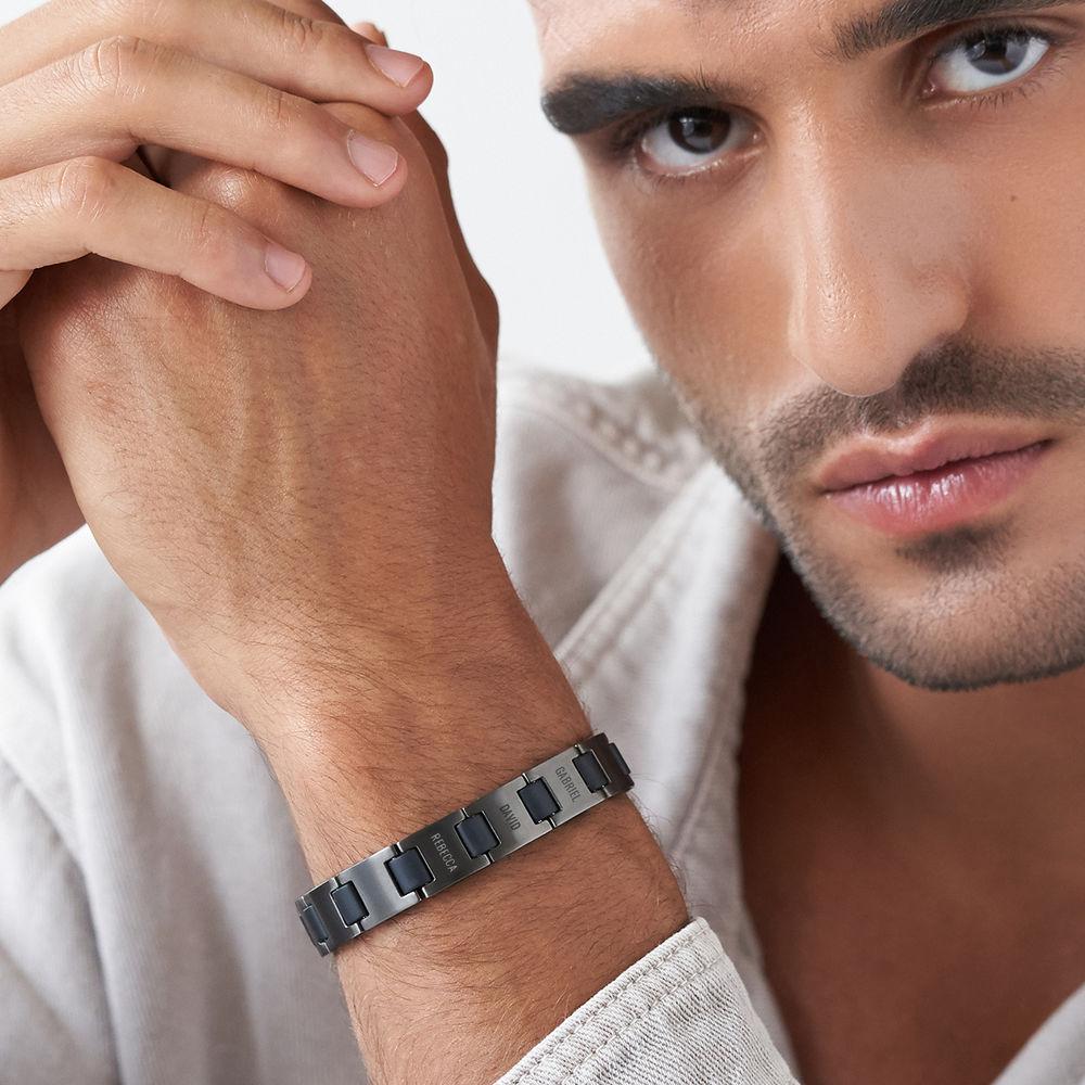 Edge Men's Bracelet in Black Stainless Steel - 3